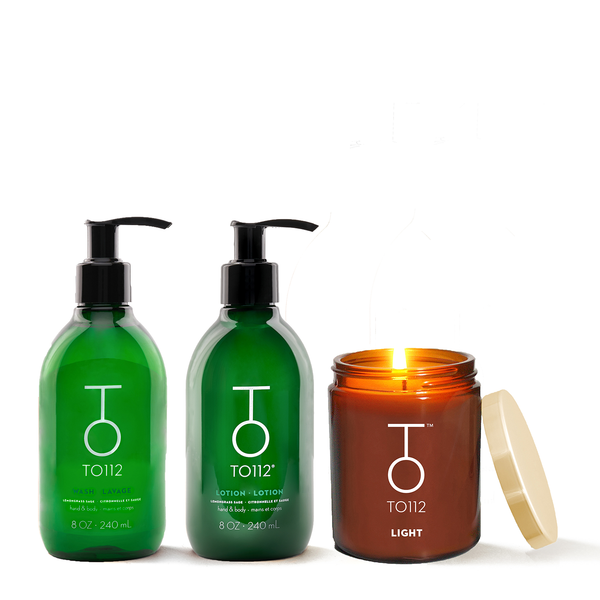 Ultimate Self Care Kit. Palo Santo Candle with a Tamanu & coconut oil hand and body wash and lotion.