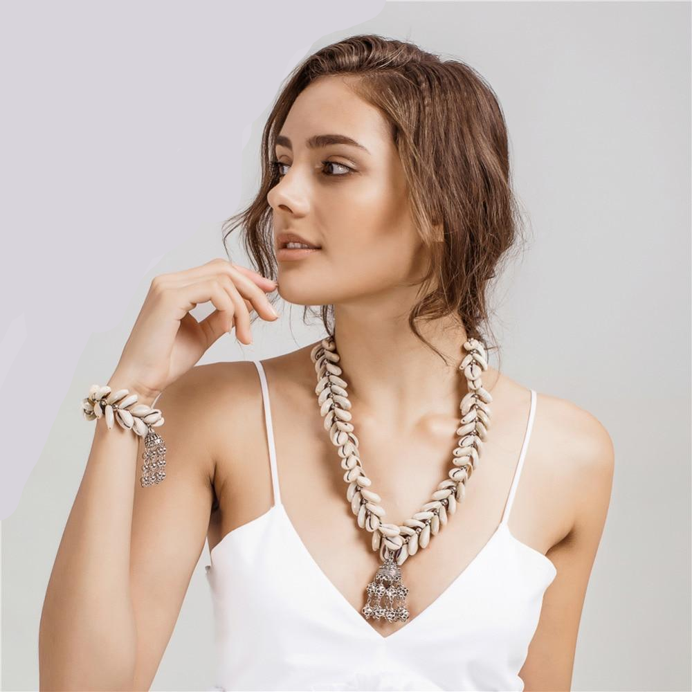 Shell Necklace and Bracelet Set