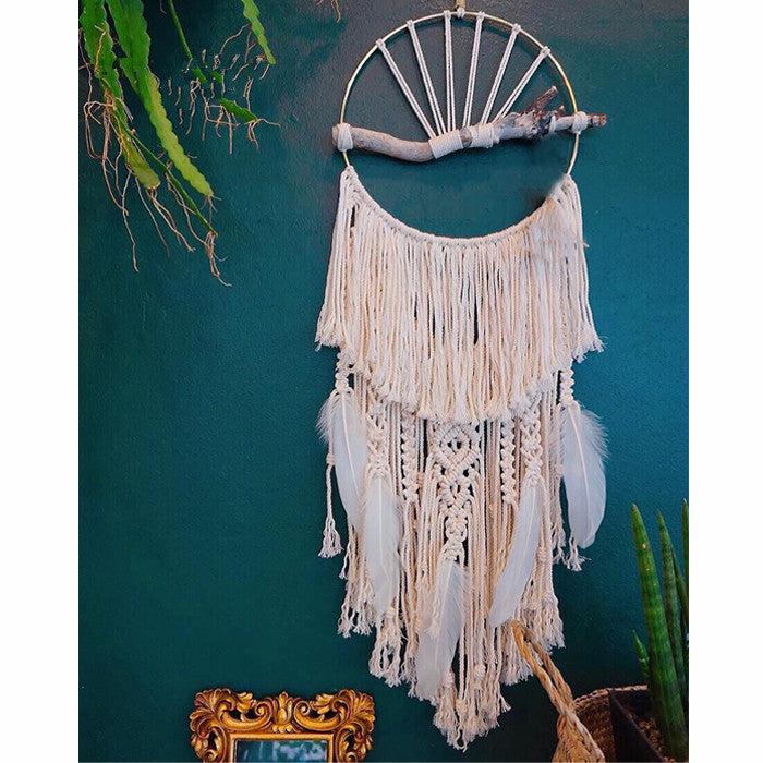 Macrame Feathered Wall Hanging