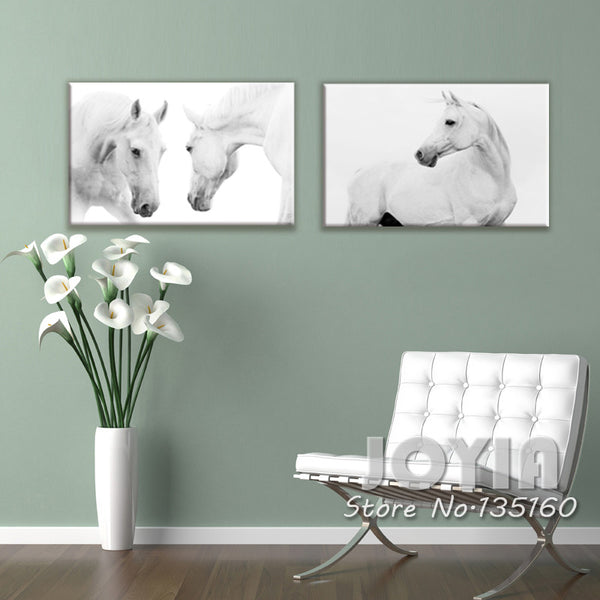 White Horse Canvas Print W/- No Frame