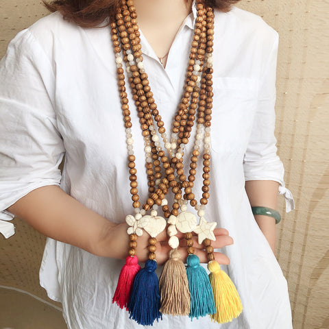 Bohemian Wooden  Mala Necklace