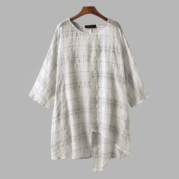ZANZEA Plus Size Women Blouse Cotton Linen Tops 2018 Summer Long Sleeve Plaid Vintage Split Baggy Blusa Feminina Oversized Shirt