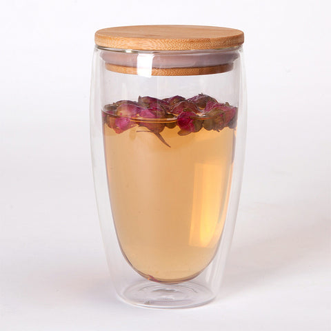 Bamboo Transparent Double Glass Heat-Resistant Insulated Lid Coffee-Tea Mugs