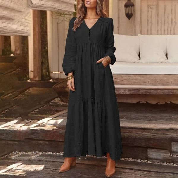 2019 ZANZEA Women Long Maxi Bohemian Dress Casual Pleated Pockets Buttons V Neck Party Vestidos Ladies Cotton Long Tunic Dresses