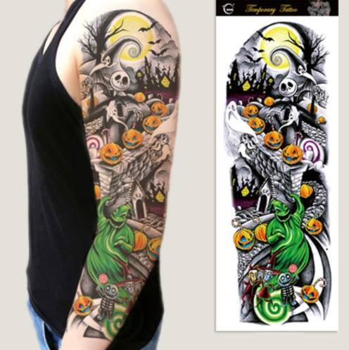 Jack Skellington Temporary Sleeve Tattoo