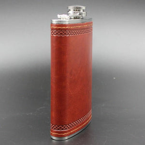 Premium Leather Stainless Steel Whiskey Flask (9oz)