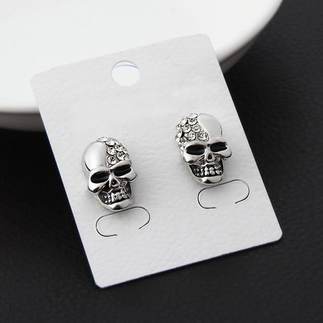 Crystal Skull Head Earrings (2pcs)