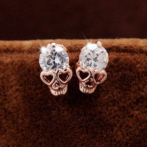 Rose Gold Crystal Skull Earrings