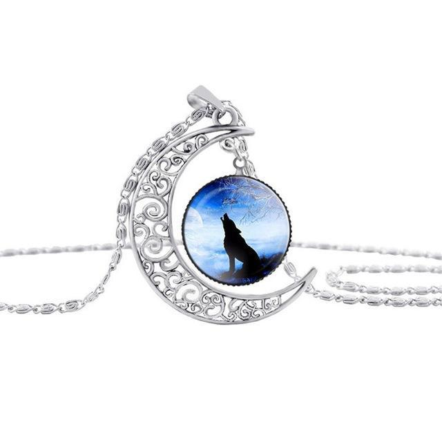 'Wolf Spirit Moon' Glass Cabochon Necklace [Free Offer]