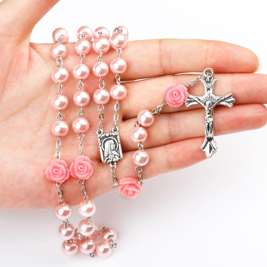Pink Rose Rosary with Lourdes Medal<p><b>FREE OFFER JUST PAY SHIPPING TODAY ONLY</b>