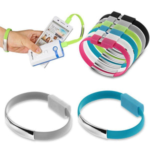 New Bracelet Wristband Micro USB Charger Wire Charging Cord Black Cable Cord Cell Phone For Micro USB V8 Cables 20.8 cm