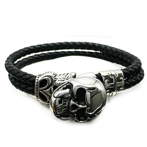 Stainless Steel Skull Double Leather Bracelet