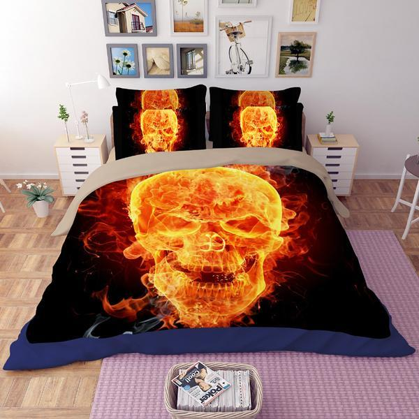 Flaming Skull Bed Set