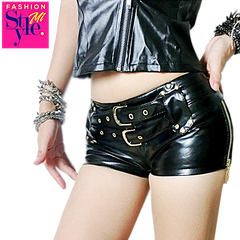 Double Sashes Leather Mini Shorts | Fashionmistyle