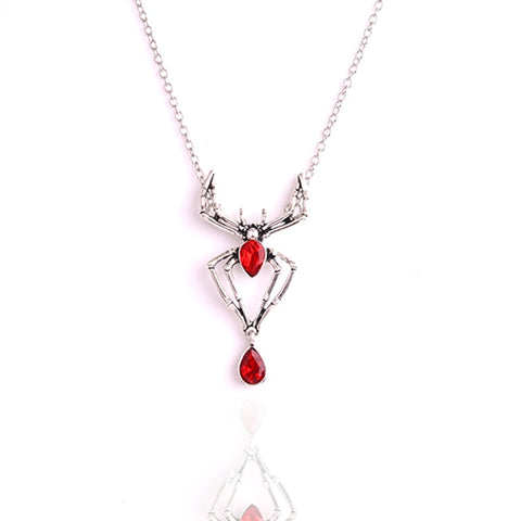 Spider statement necklace embellished with gothic vampire red crystal heart stone - Fashion mi style