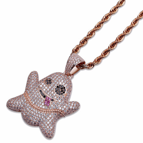 Super Cute Bling Iced Out Cartoon Ghost Pendants Necklaces