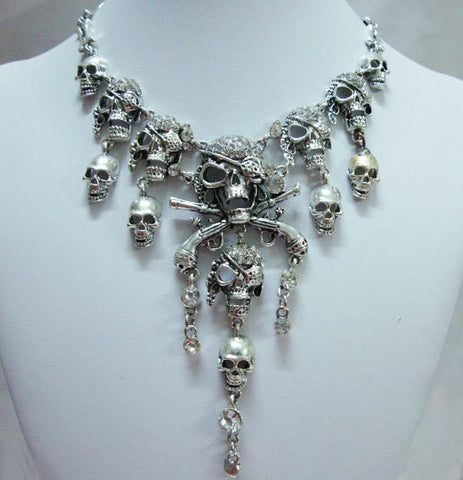 Classic Silver Halloween Skull Pirate theme Silver necklace - Fashion mi style