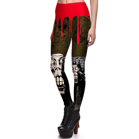 New Arrival 3760 Sexy Girl Halloween Black ghost Skull Bat Cross Printed Elastic Fitness Polyester Workout Women Leggings Pants - Fashion mi style
