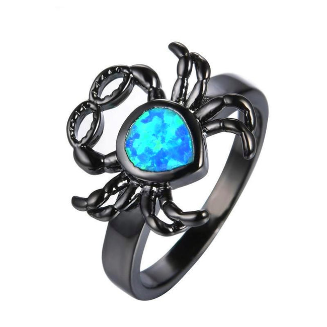 Fashion Vintage Spider Blue Fire Opal Rings For Party - Fashion mi style