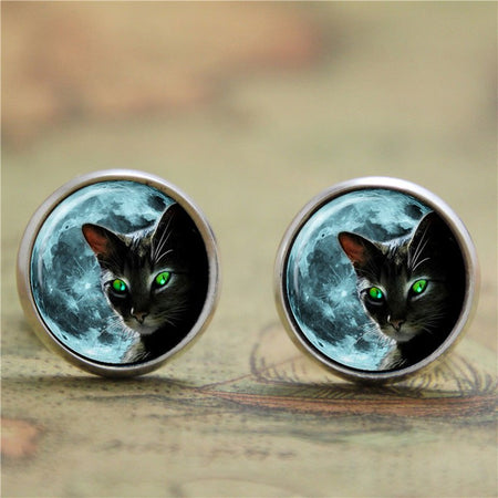 10 pairs/lot Black cat with green eyes earring print photo cat earring - Fashion mi style