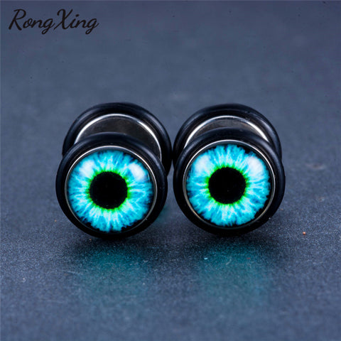 Vintage Punk Blue Eyeball Pattern Titanium Steel Stud Earrings