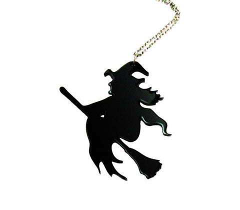 Halloween Gift  Black Witch Acrylic Pendant Necklace - Fashion mi style