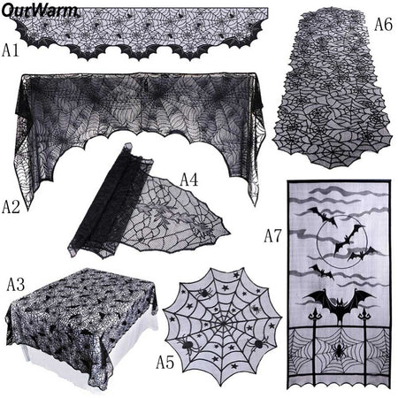 1 Piece Halloween Props Black Lace Spiderweb Fireplace Mantle Scarf Cover cloth - Fashion mi style
