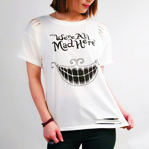 Halloween Cotton Casual Summer Tops Tees Hollow out Tassel T-shirts - Fashion mi style