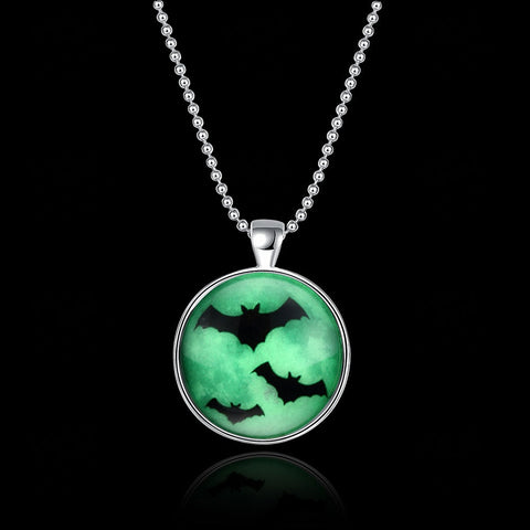 60 CM Chain Glowing Bat Necklace Steampunk Fire Glow in the Dark Jewelry - Fashion mi style