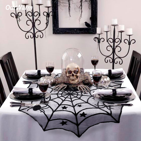 Fancy Halloween Spiderweb Black Lace Table Covers - Fashion mi style