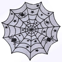 Fancy Halloween Spiderweb Black Lace Table Covers