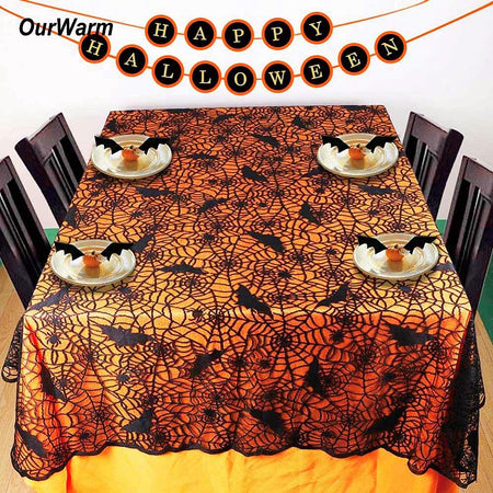 1 pc Lace Black Spider Web Halloween Tablecloth Rectangle 210*150 cm - Fashion mi style