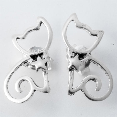 925 Sterling Silver Cat Stud Earrings Halloween Party Jewelry Gifts - Fashion mi style