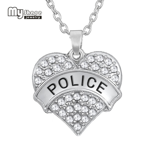 Zinc Alloy Rhinestone Heart Charm Word engraved Police Pendant Long Necklace - Fashion mi style