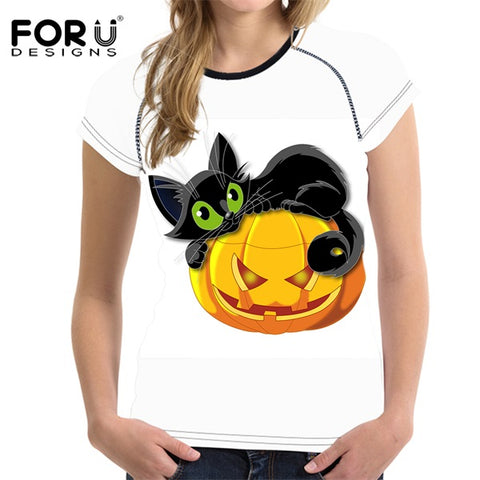 3-D Cartoon Black Cat Print Summer Women Breathable Lady Short Sleeve T-shirts - Fashion mi style