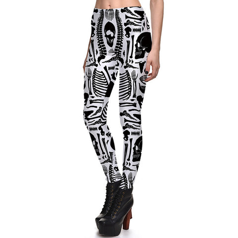 Halloween Poison Skull Rose Prints Elastic Slim Fitness Workout Women Leggings Plus Size - Fashion mi style