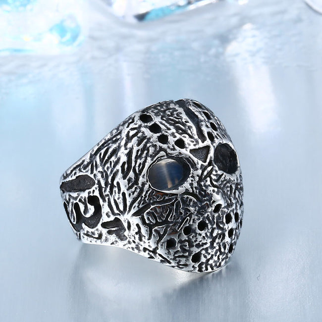 Stainless Steel Jason Voorhees Hockey Mask Antique Ring