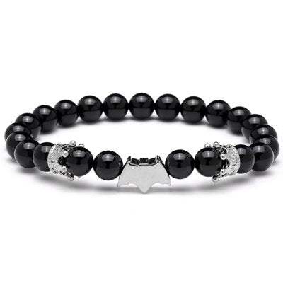 Mcllroy Beads Bracelet men black natural stone Batman Bracelets Super Hero Halloween charm bracelet pulseira masculina Christmas - Fashion mi style