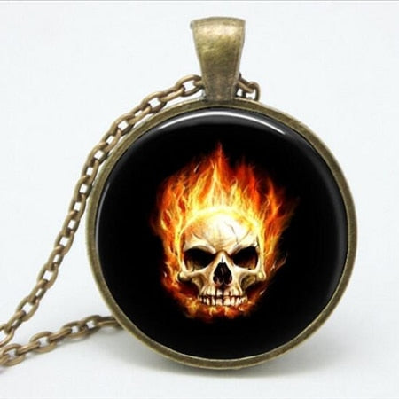 Ghost Rider burning skull Glass vintage bronze necklace - Fashion mi style