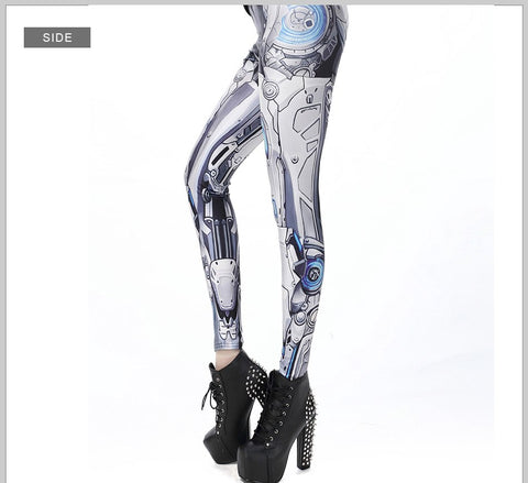 Halloween ROBOT Comic Cartoon Printed High Waist Woman leggings - Fashion mi style