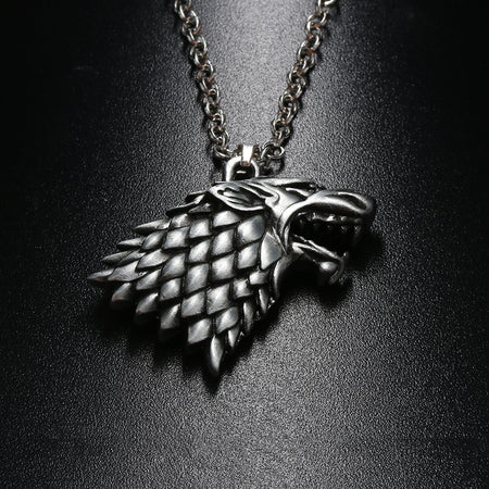 1 PCs Fashion Head Badge Wolf Game of Thrones Stark Family  Goshawk Pendant Necklace - Fashion mi style