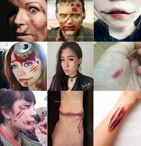 20 pcs/pack Zombie Scars Tattoos Sticker Bloody Makeup Halloween Decor - Fashion mi style