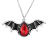 Image of New Arrival Antique Silver Color Red Crystal Black Bat Wing Necklace - Fashion mi style