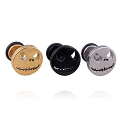 1pair fashion titanium nightmare skull silver gold black 10 mm studs earrings - Fashion mi style