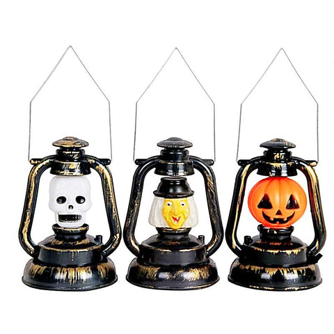 Pumpkin Skull Witch Lamp Hanging Portable Light Holder Haunted House Decoration