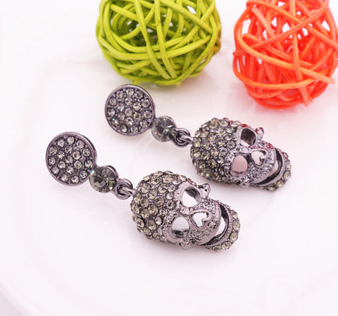 Steampunk Black Long Gothic Drop Statement Earrings
