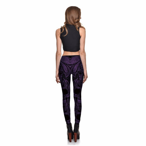 7 Colors Special Design Cosply Halloween Skull Women Punk Purple Blue Green Red Slim Pants - Fashion mi style