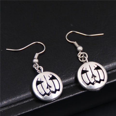 1 Pair Antique Silver Pumpkin Gothic Witch Hat Skull Hand Earrings - Fashion mi style