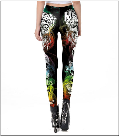 Halloween Miserable Skull Gothic Cross Tomb Leggings Ghost Ankle Pants - Fashion mi style