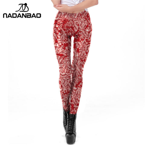 Halloween Blood Stained Plus Size Slim Hot Pants Digital Printed Fitness Workout Leggings - Fashion mi style